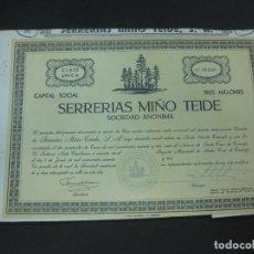 Coleccionismo Acciones Españolas: ACCION SERRERIAS MIÑO TEIDE SOCIEDAD ANONIMA. SANTA URSULA TENERIFE. 6 JUNIO 1963.. Lote 191910225