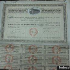 Coleccionismo Acciones Españolas: ACCION - OBLIGACION FERROCARRILES ECONOMICOS S.A. BARCELONA 1 OCTUBRE 1926.CON CUPONES.. Lote 192229630