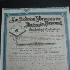 Coleccionismo Acciones Españolas: ACCION LA SEDERA REUSENSE ANTONIO PASCUAL. REUS 1º DE ENERO DE 1922.. Lote 192630450
