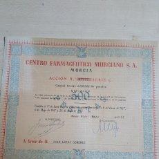 Colecionismo Ações Espanholas: ACCION 500 PESETAS CENTRO FARMACEUTICO MURCIANO, S.A MURCIA AÑO 1957. Lote 192648190