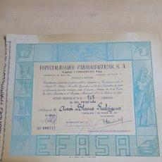 Colecionismo Ações Espanholas: ACCION DE 1.000 PESETAS ESPECIALIDADES FARMACEUTICAS,S.A. CARTAGENA AÑO 1957. Lote 192665006
