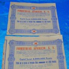 Coleccionismo Acciones Españolas: ACCIONES LOTE DE 2 DE INDUSTRIAS APARICIO 1959 CON CUPONES Y MUY BUEN ESTADO- LEER Y VER FOTO. Lote 192833982