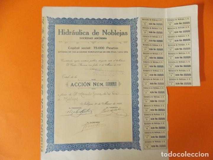 ACCION - HIDRAULICA DE NOBLEJAS , TOLEDO - AÑO 1929 - .. L500B (Coleccionismo - Acciones Españolas)