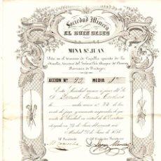 Collezionismo Azioni Spagnole: ACCION SOCIEDAD MINERA EL BUEN DESEO. MINA S. JUAN, BADAJOZ. FECHADA EN MADRID A 27 DE JUNIO DE 1856. Lote 192982458