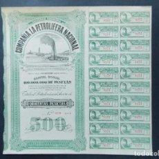 Coleccionismo Acciones Españolas: ACCION - COMPAÑIA PETROLERA NACIONAL - SAN SEBASTIAN - AÑO 1928 .. L598. Lote 193054133