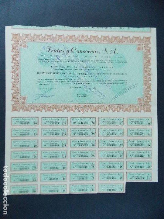 ACCION FRUTAS Y CONSERVAS S.A. - 5000 PESETAS, BALAGUER - LERIDA, LLEIDA, AÑO 1963...L599 (Coleccionismo - Acciones Españolas)