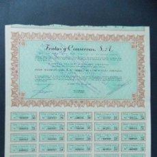 Coleccionismo Acciones Españolas: ACCION FRUTAS Y CONSERVAS S.A. - 5000 PESETAS, BALAGUER - LERIDA, LLEIDA, AÑO 1963...L599. Lote 193056337