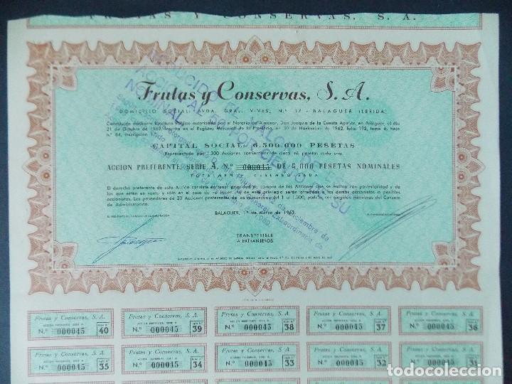 Coleccionismo Acciones Españolas: ACCION FRUTAS Y CONSERVAS S.A. - 5000 PESETAS, BALAGUER - LERIDA, LLEIDA, AÑO 1963...L599 - Foto 2 - 193056337