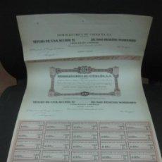 Coleccionismo Acciones Españolas: ACCION HIDROELECTRICA DE CATALUÑA. 15 DE DICIEMBRE 1954.. CON TODOS LOS CUPONES SIN NUMERAR.. Lote 193323710