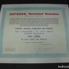 Coleccionismo Acciones Españolas: ACCION DOFRASA SOCIEDAD ANONIMA. BARCELONA 5 FEBRERO 1960.. Lote 193327331