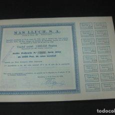 Coleccionismo Acciones Españolas: ACCION MAS LLUCH S.A. BARCELONA 10 ENERO 1956.TODOS LOS CUPONES.. Lote 193327498