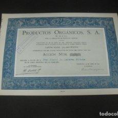 Coleccionismo Acciones Españolas: ACCION PRODUCTOS ORGANICOS S.A. BARCELONA ABRIL 1941. ACCION Nº 135 DE 325.. Lote 193328711