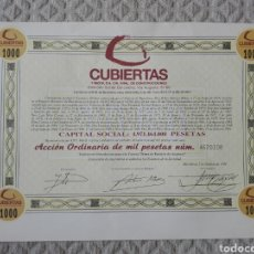Coleccionismo Acciones Españolas: ACCIÓN CUBIERTAS Y MZOV, S.A. 1991. Lote 193632100