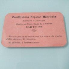 Coleccionismo Acciones Españolas: TARJETA DE ACCIONISTA DE LA PANIFICADORA POPULAR MADRILEÑA. MADRID, 1936-1939. PARA RACIONAMIENTO.. Lote 193703231