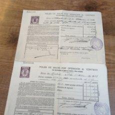 Coleccionismo Acciones Españolas: 2 POLIZAS DE BOLSA POR OPERACIÓN AL CONTADO. 1922 Y 1929. MONARQUIA.. Lote 193944696