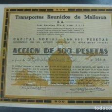 Coleccionismo Acciones Españolas: ACCION TRANSPORTES REUNIDOS DE MALLORCA. CONSTITUIDA EN 1938. 1000 ACCIONES PALMA DE MALLORCA 1959.. Lote 193994751