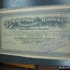 Coleccionismo Acciones Españolas: ACCION LA MAQUINISTA TERRESTRE Y MARITIMA. 10 DE DICIEMBRE DE 1917. . Lote 194009566