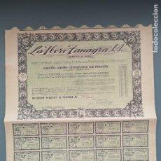 Coleccionismo Acciones Españolas: OBLIGACION LA IBERO TANAGRA S.A 1960 SANTANDER CANTABRIA CN CUPONES NUMERO BAJO 979 PERFECTA CONSERV. Lote 194162656