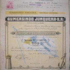 Coleccionismo Acciones Españolas: GUMERSINDO JUNQUERA SOCIEDAD ANÓNIMA. GIJÓN-ASTURIAS. . Lote 194203808