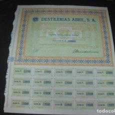 Coleccionismo Acciones Españolas: ACCION DESTILERIAS ABRIL. ARGENTONA 5 NOVIEMBRE 1965. CON TODOS LOS CUPONES.. Lote 194268850