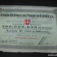 Coleccionismo Acciones Españolas: ACCION UNION QUIMICA DEL NORTE DE ESPAÑA . BILBAO 31 DE ENERO DE 1951.. Lote 194278765