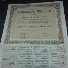 Coleccionismo Acciones Españolas: ACCION ALMACENES EL TEIDE S.A. SANTA CRUZ DE TENERIFE, 18 DE JUNIO DE 1945. TODOS LOS CUPONES.. Lote 194283025