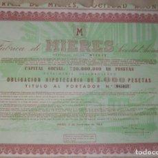 Coleccionismo Acciones Españolas: MINAS DE HIERRO Y SIDERÚRGICA FÁBRICA DE MIERES (ASTURIAS). 1962.. Lote 194294225