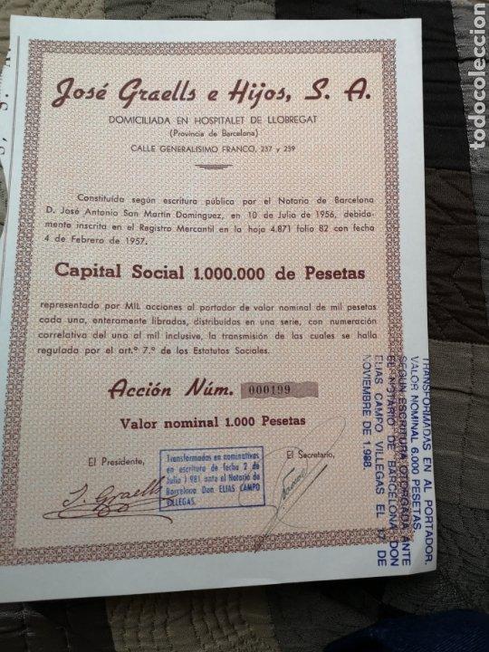 F12. ACCIÓN. JOSÉ GRAELLS E HIJOS S. A 1957 (Coleccionismo - Acciones Españolas)