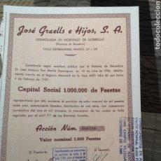 Coleccionismo Acciones Españolas: F12. ACCIÓN. JOSÉ GRAELLS E HIJOS S. A 1957. Lote 194322390