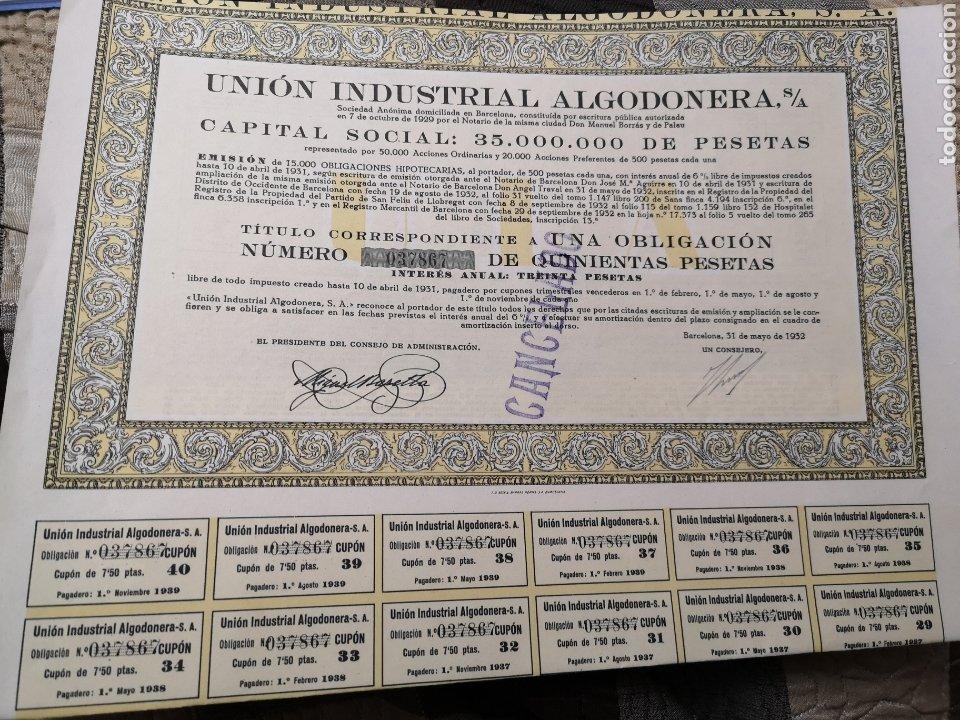 F13. ACCIÓN. UNIÓN INDUSTRIAL ALGODONERA S. A 1932 (Coleccionismo - Acciones Españolas)