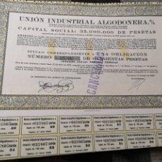 Coleccionismo Acciones Españolas: F13. ACCIÓN. UNIÓN INDUSTRIAL ALGODONERA S. A 1932. Lote 194322702