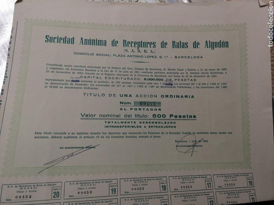 F14. ACCIÓN. SOCIEDAD ANÓNIMA DE RECEPTORES DE BALAS DE ALGODÓN 1962 (Coleccionismo - Acciones Españolas)