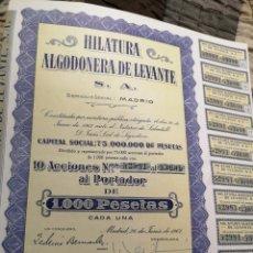 Coleccionismo Acciones Españolas: F16. ACCIÓN. HILATURA ALGODONERA DE LEVANTE 1961. Lote 194330458