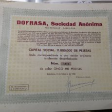 Coleccionismo Acciones Españolas: F17. ACCIÓN. DOFRASA. SOCIEDAD ANÓNIMA. 1960. Lote 194330758
