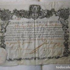 Coleccionismo Acciones Españolas: ACCION DE LA COMPAÑIA REAL DE ZARAGOZA DEL AÑO 1747 ( COMPAÑIA DE COMERCIO) REF MANUSCRITO. Lote 194600696