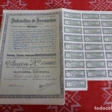 Coleccionismo Acciones Españolas: (ENC)-ACCION ANTRACITAS DE BRAÑUELAS FECHADA EN 1976 CON LOS CUPONES DE LA FOTO,BIEN CONSERVADA. Lote 194660015