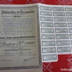 Coleccionismo Acciones Españolas: (ENC)-ACCION ANTRACITAS DE BRAÑUELAS FECHADA EN 1976 CON LOS CUPONES DE LA FOTO,BIEN CONSERVADA. Lote 194660043