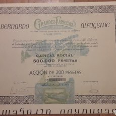 Coleccionismo Acciones Españolas: BERNARDO ALFAGEME, GRANDES FÁBRICAS DE SALAZONES (CONSERVAS MIAU) 1908. Lote 194729386