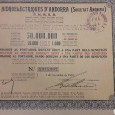 Coleccionismo Acciones Españolas: FORCES HIDROELECTRIQUES D'ANDORRA (PHASA) 1930. Lote 194731593