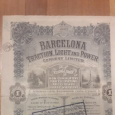Coleccionismo Acciones Españolas: BARCELONA TRACTION, LIGHT AND POWER (1925). Lote 194732477
