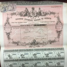 Coleccionismo Acciones Españolas: SOCIEDAD ESPAÑOLA GENERAL DE CREDITO. Lote 194860368