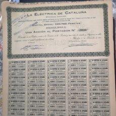 Coleccionismo Acciones Españolas: G11. ACCIÓN. BARCELONA. LA ELÉCTRICA DE CATALUÑA. 1920. Lote 194921601