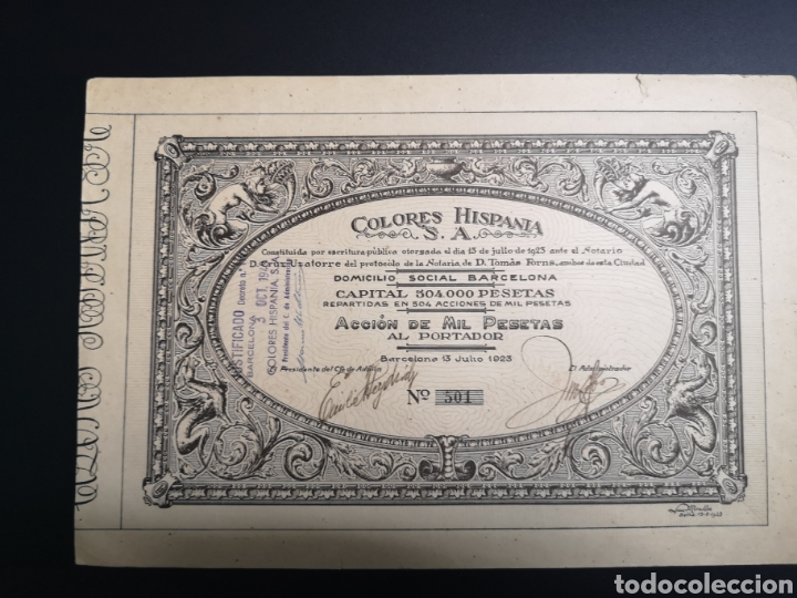 G12. ACCIÓN. BARCELONA. COLORES HISPANIA. 1923 (Coleccionismo - Acciones Españolas)