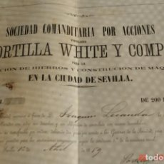 Coleccionismo Acciones Españolas: ACCIONES - 200 ESCUDOS-PORTILLA WHITE Y COMP-HIERROS Y COSTRUCION DE MAQUINARIA EN SEVILLA-AÑO 1869. Lote 194952690