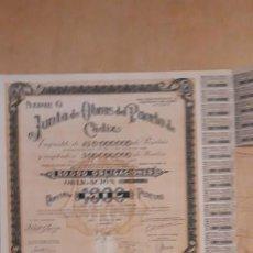 Coleccionismo Acciones Españolas: OBLIGACION DE ** JUNTA DE OBRAS PUERTO DE CADIZ 1000 PTS ** 1950. Lote 195206150