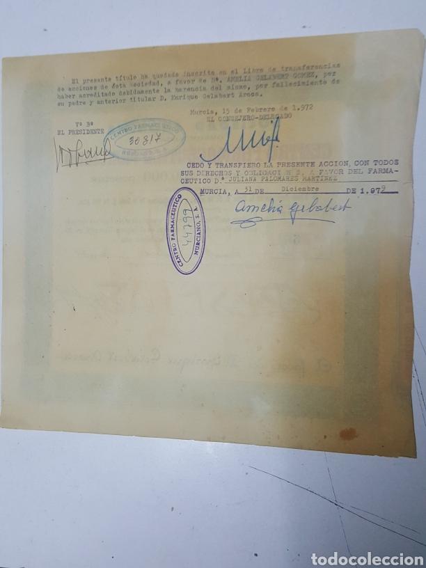Coleccionismo Acciones Españolas: Accion N° 66 Centro Farmaceutico Murciano enero de 1934 de 23x24 cm - Foto 2 - 195333590