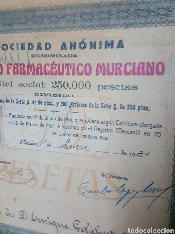 Coleccionismo Acciones Españolas: Accion N° 66 Centro Farmaceutico Murciano enero de 1934 de 23x24 cm - Foto 3 - 195333590