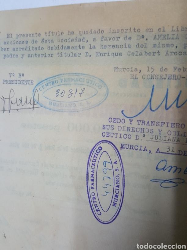Coleccionismo Acciones Españolas: Accion N° 66 Centro Farmaceutico Murciano enero de 1934 de 23x24 cm - Foto 4 - 195333590