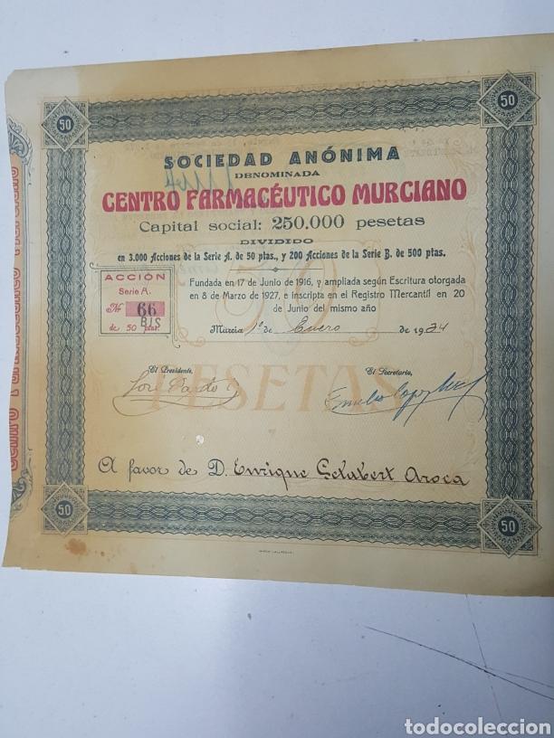 ACCION N° 66 CENTRO FARMACEUTICO MURCIANO ENERO DE 1934 DE 23X24 CM (Coleccionismo - Acciones Españolas)