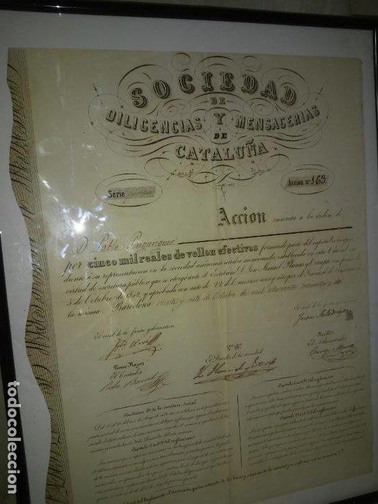 Coleccionismo Acciones Españolas: ACCION SOCIEDAD DE DILIGENCIAS Y MENSAGERIAS DE CATALUÑA - AÑO 1842 - EXCEPCIONAL RAREZA. - Foto 2 - 195371025